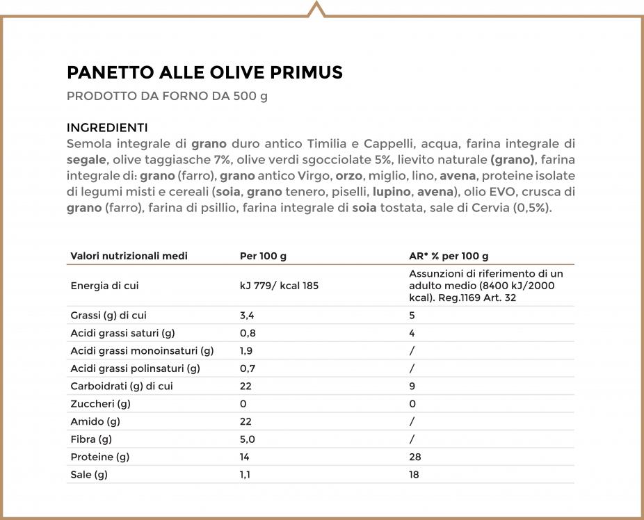 Valori nutrizionali e ingredienti olive primus