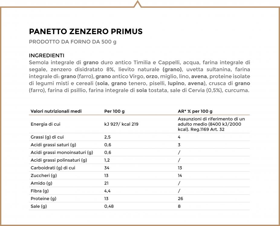Valori nutrizionali e ingredienti zenzero primus